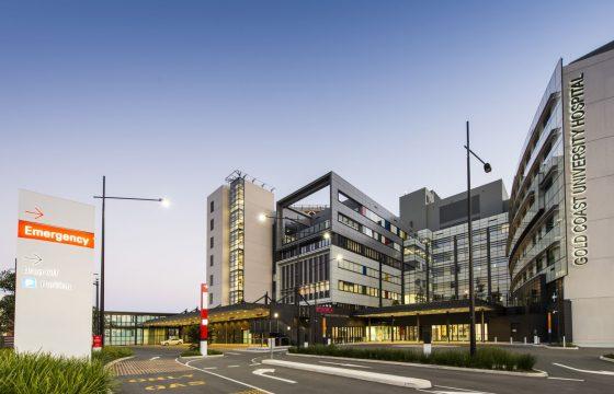 Night time shot of Gold Coast University Hospital - FEISTY Study